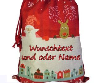 Nikolaussack on both sides customizable with name, 2 sizes / text, saying / Santa Claus / reindeer / jutesack / Nikolaus /
