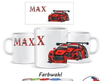 Mug car with name made of ceramic or plastic / Customizable / Sports car / Racing car