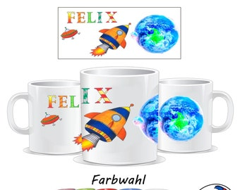 Mug rocket with name made of ceramic or plastic / spaceship / children's cup / UFO / with name / space / space / astronaut