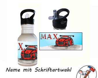 Stainless Steel Drinking Bottle Motif Car with Name / Customizable / 400ml / 500ml / 600ml