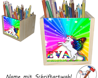 Unicorn wooden pen box with name/font choice/ rainbow / 10x10x10cm