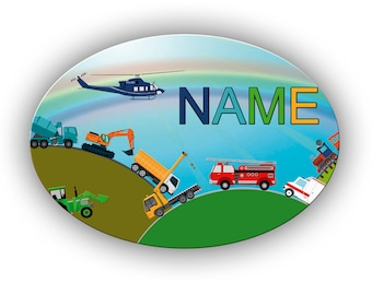 Door sign motif vehicles with name / Personalizable