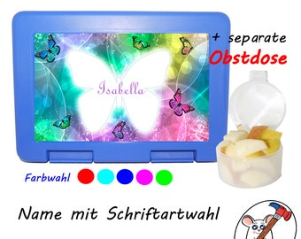 Lunchbox / Snack box / Lunch box with separate fruit box butterfly with name / Customizable