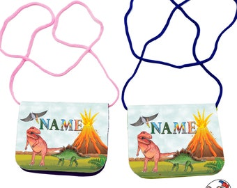 Children's chest pouch with name / dino / Velcro cord clear compartment / Personalizable