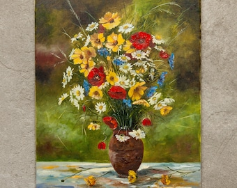 Bouquet with wild flowers // original oil painting // 30*40 cm