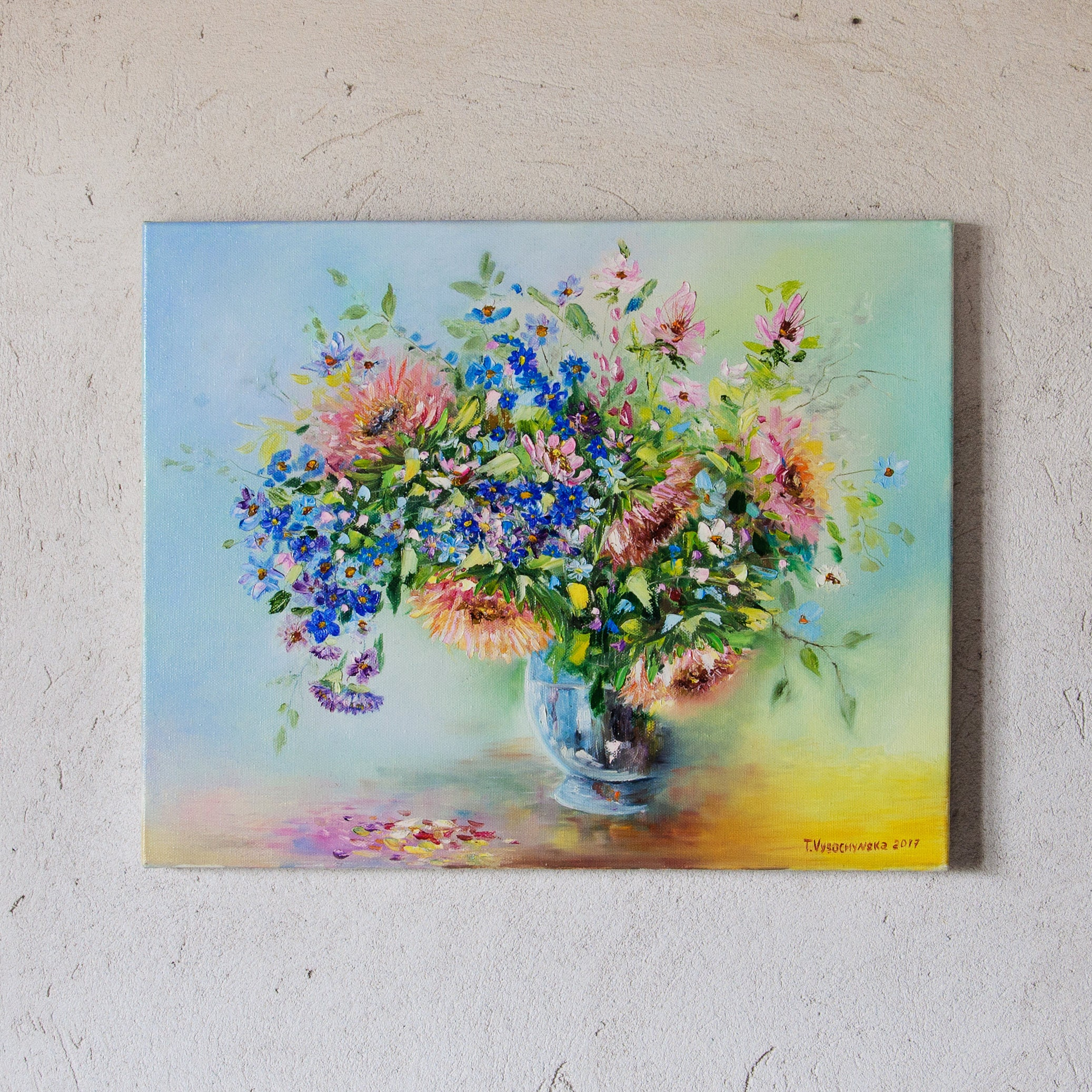 Flower Painting Purple And Pink Flowers In A Vase Oil Painting Etsy