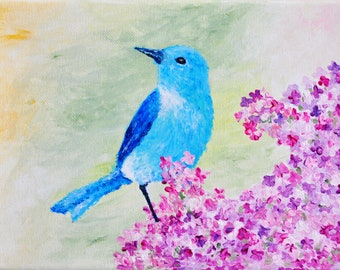 original painting of cute bluebird sitting on blooming lilac bush, spring, wall decor, home decor, nature, birds, flowers