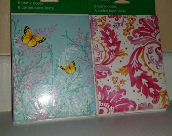 Butterflies and Paisley Note cards - Set of Two