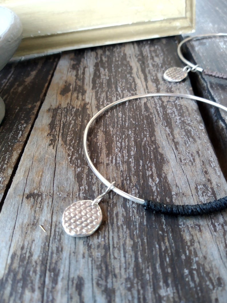 gift for her silver wire bracelet silver bracelet with charm Handmade silver 925 Bangle Bracelet stacking bangle sterling silver bangle