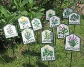 Herb Markers Pack Of 12 Cast Iron Plaques On Stakes Hand Painted Great For Garden, Allotment Or Greenhouse 29cm Tall FREE DELIVERY