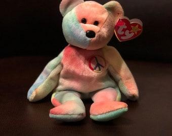Ty original 1996 Peace bear beanie baby 036a3fc28d89