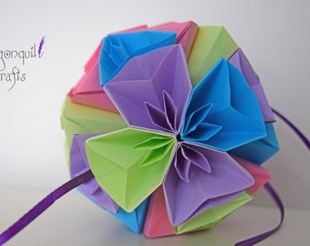 Origami flower ball etsy origami paper flower ball kusudama ball cherry blossom home decor wedding present mightylinksfo