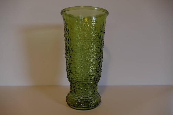 Vintage Green Glass Vase Mid Century Green Glass Vase Etsy