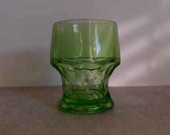 Green Depression Glass Juice Glass, Georgian Emerald Green Juice Glass, Vintage Juice Glass, Vintage Green Viking Glass Juice Cup,