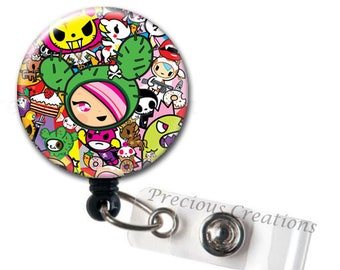 860a35597 Harajuku ID Badge Reel Holder Clip Holder Retractable Nurses RN Xray Tech  Cute