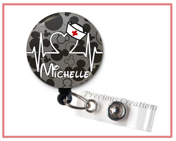 Personalized Mickey Mouse Disney-Inspired No Twist Retractable Badge Reel Badge Holder Office Teacher Nurse