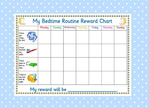 printable bedtime reward chart instant download kids
