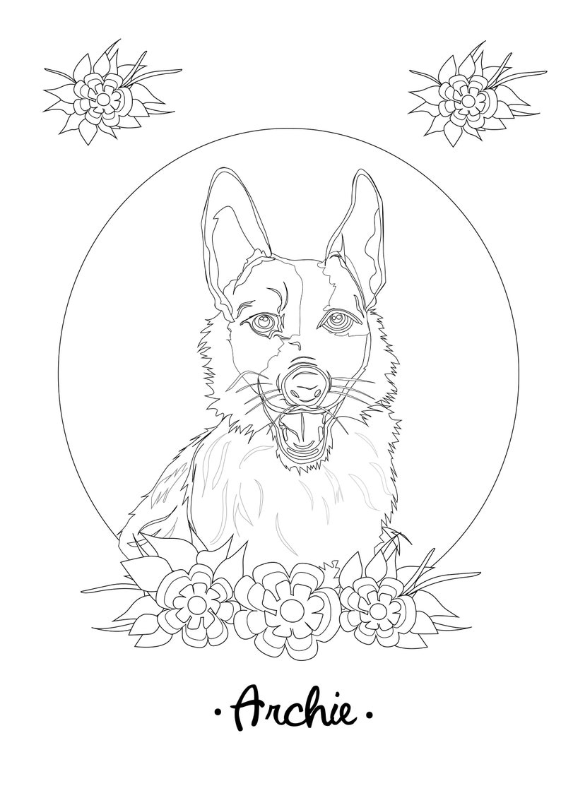 - Personalized Coloring Pages Birthday Dog Portrait Coloring Etsy