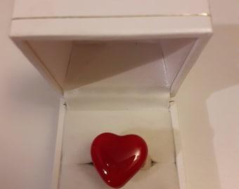 Heart ciuleur ring adjustable glass ring