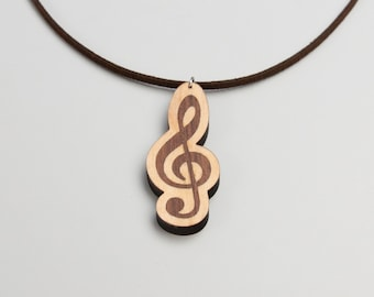 Personalized G-Clef Necklace Walnut /& Maple  Personalized Music Gift  Music Gift