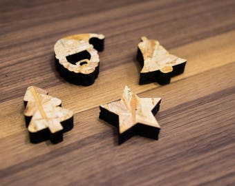 Christmas Tree Decorations | Mini Baubles | Wood | Christmas decorations | Laser cut | OSB wood | Recycled