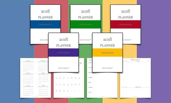 2018 GoodNotes und PDF-Kalender Vorlage Bundle Bodoni Farbe | Etsy