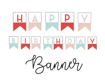 Printable Happy Birthday Banner - Colorful Banner - Happy Birthday Banner - Party Decor - DIY Party Banner - Instant Download - Birthday
