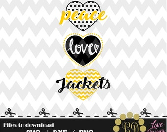 Peace Love Yellow Jackets svg,png,dxf,cricut,silhouette,college,jersey,shirt,proud,birthday,cut,university,football,basketball,georgia,tech