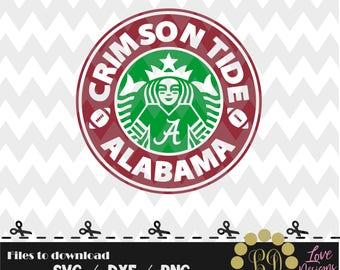 Crimson Tide Alabama Coffee svg,png,dxf,shirt,jersey,football,college,university,decal,proud mom,disney,starbucks,ncaa,2018,custom,bama,A