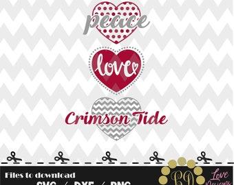 Peace Love Crimson Tide svg,png,dxf,cricut,silhouette,college,jersey,shirt,proud,bama,cutting,university,football,alabama,roll tide,black