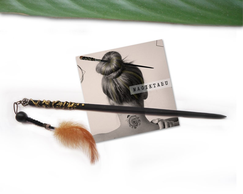 Handmade Feather Hair Stick A Mystical Hair Accessory in Black and Gold