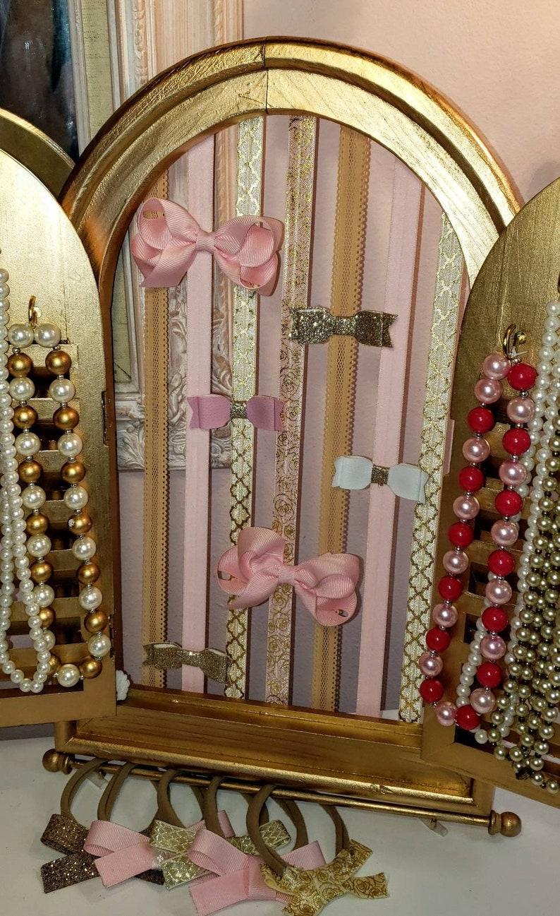 Wall Display Nursery Bow Holder Girl/'s Gift Kid Bedroom Wall Display Jewelry Holder Gold Nursery Jewelry Display Unique Nursery Decor