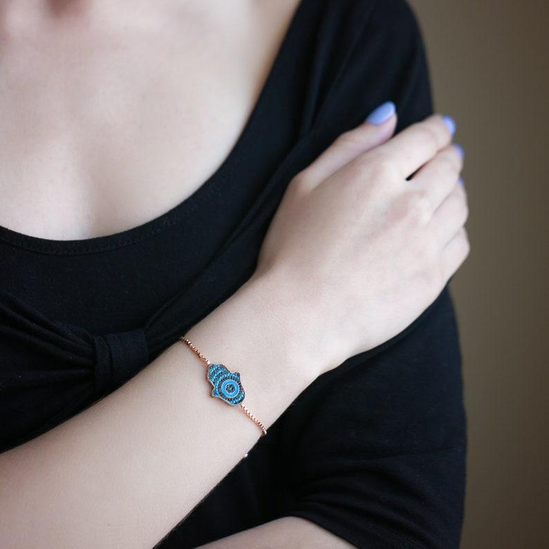 14K Rose Gold Plated Hamsa Handmade Bracelet Black Cubic Zirconia CZ Gift for Her Women Girls