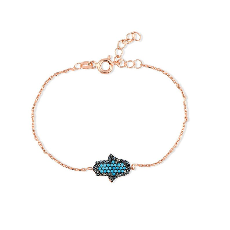 14K Rose Gold Plated Hamsa Handmade Bracelet Thin Gold Bracelet Black Cubic Zirconia CZ Gift for Her Women Girls