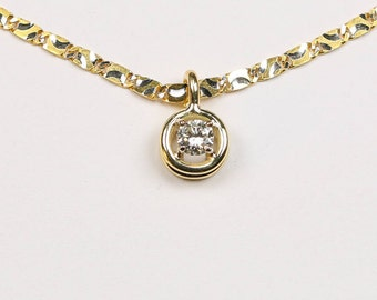 Solitaire Brilliant 0.12 ct with 750 Gold Chain, Dainty Pendant, Genuine Diamond, Necklace