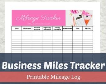 Business Mileage Tracker, Mileage Tax Deduction, Business Planner, 8.5x11, Letter Size, Instant Download, PDF Printable, Etsy Shop Business