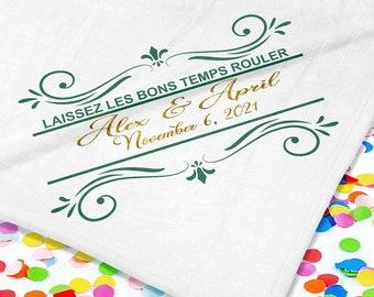Laissez Les Bons Temps Rouler Handkerchiefs - New Orleans Theme - Personalize With Name   Date   City & State - 17x17