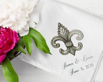 Fleur De Lis Metal - Second Line Wedding Handkerchiefs - Personalize With Name   Date   City & State - 17x17 - Complete Custom