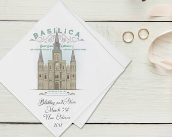 Jackson Square - Second Line Wedding Handkerchiefs - New Orleans Theme - Personalize With Name & Date of Wedding - 17X17