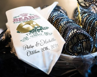 Beads - Second Line Wedding Handkerchiefs - New Orleans - Personalize With Name   Date   City & State - 17x17