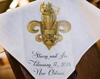 Mardi Gras - Fleur De Lis Second Line Wedding Handkerchiefs - New Orleans - Personalize Name & Date of Wedding - 17x17