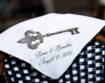 Key Fleur De Lis - Second Line Wedding Handkerchiefs - Personalize With Name   Date   City & State - 17x17 - Complete Custom