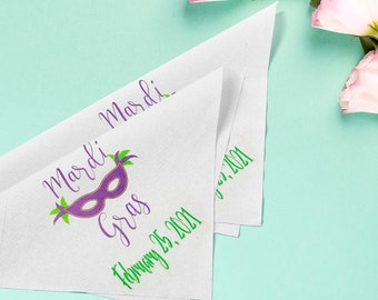 Mardi Gras - Second Line Wedding Handkerchiefs - Personalize With Name   Date   City & State - 17x17 - Complete Custom