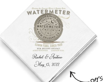 WaterMeter - Second Line Wedding Handkerchiefs - New Orleans Theme - Personalize With Name & Date of Wedding - 17X17