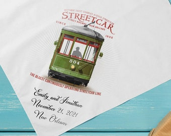 Streetcar - Second Line Wedding Handkerchiefs - New Orleans - Personalize Name   Date   City & State - 17x17