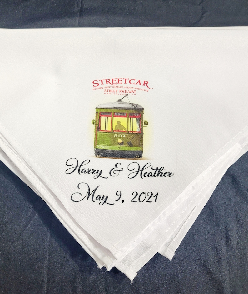 Streetcar Second Line Wedding Handkerchiefs New Orleans Theme Personalize With Name /& Date of Wedding Quality Linen