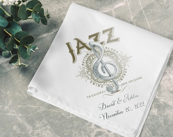 Jazz - Second Line Wedding Handkerchiefs - Personalize With Name   Date   City & State - 17x17 - Complete Custom