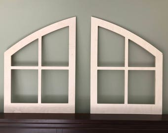 Double arched window frame, Farmhouse, finished unfinished , custom shabby chic wall hanging wall decor paintable shutter 2 windows country