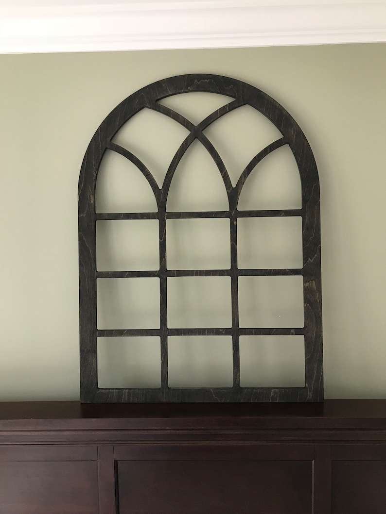 Arched Farmhouse Frame Faux Window Frame Arched Stained Custom Arch Shabby Chic Wall Hanging Wall Decor Shutter Vintage Inspired 38