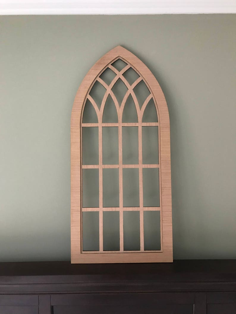 Farmhouse Frame Heirloom Faux Window Arched Stained Custom Arch Wall Hanging Wall Decor Paintable Shutter Custom Inset Pointed 3 4
